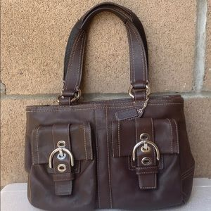 Coach soho brown buckled carryall handbag 8A09